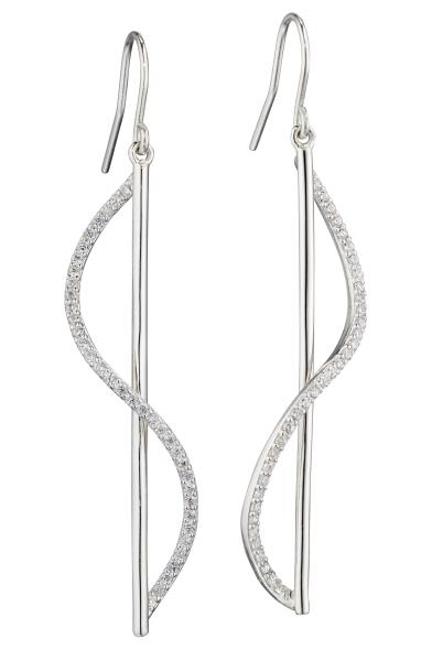 Sculptural 3D Earrings With Clear CZ