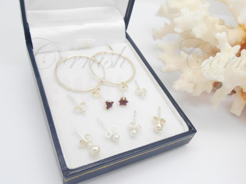 Selection Of Silver 925 Earrings Hoops / Studs