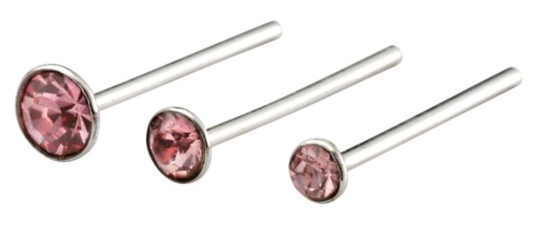 Set Of 6 Light Rose Nose Studs