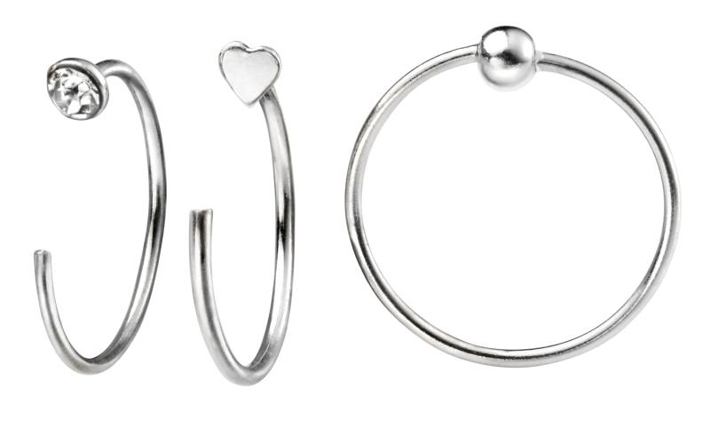 Set Of Three Nose Rings, Crystal, Ball & Heart