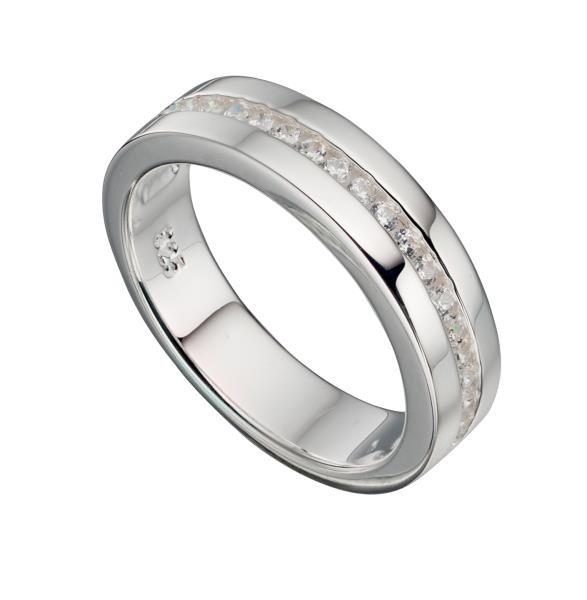 Clear CZ 1/2 Channel Band Ring