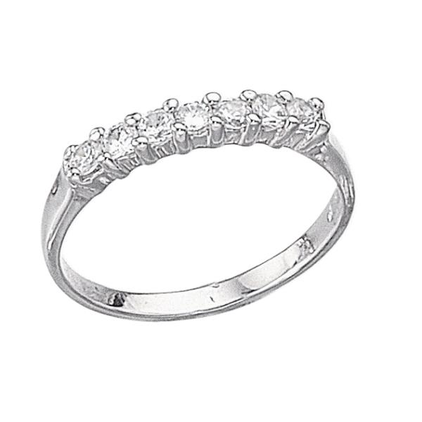Silver 7 Stone Eternity Ring Size L