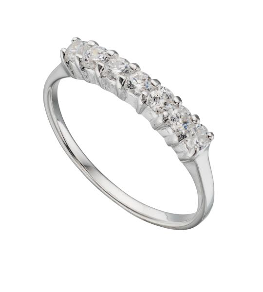 Clear CZ 7 Stone Eternity Ring