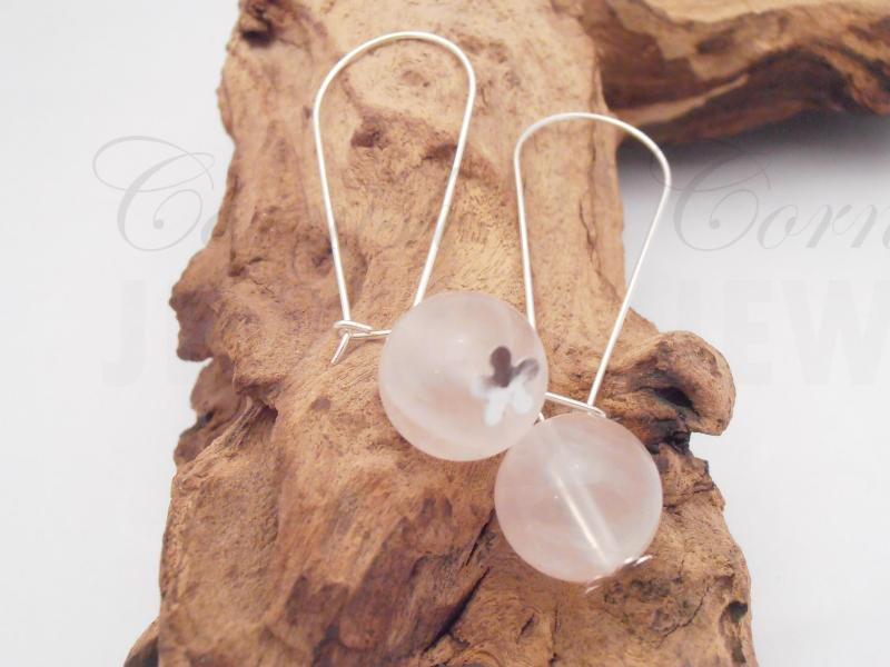 Silver 925 Rose Quartz Ball Earrings