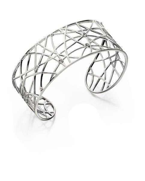 Air Open Work Stone Set Bangle