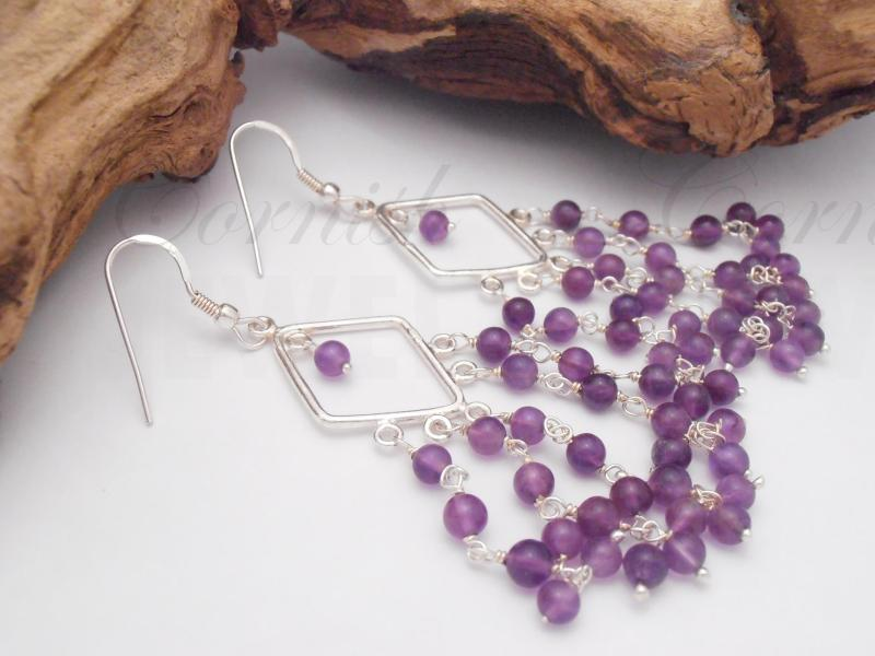Silver Amethyst Deco Earrings Chandelier Earrings
