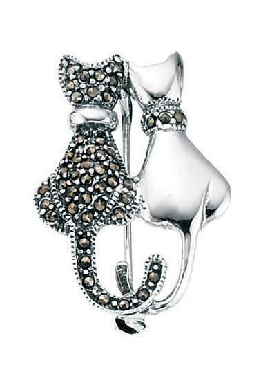 Silver & Marcasite Double Cat Brooch