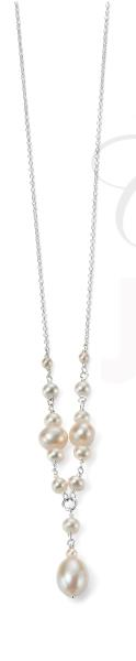 Silver & Pearl Droplet Necklace