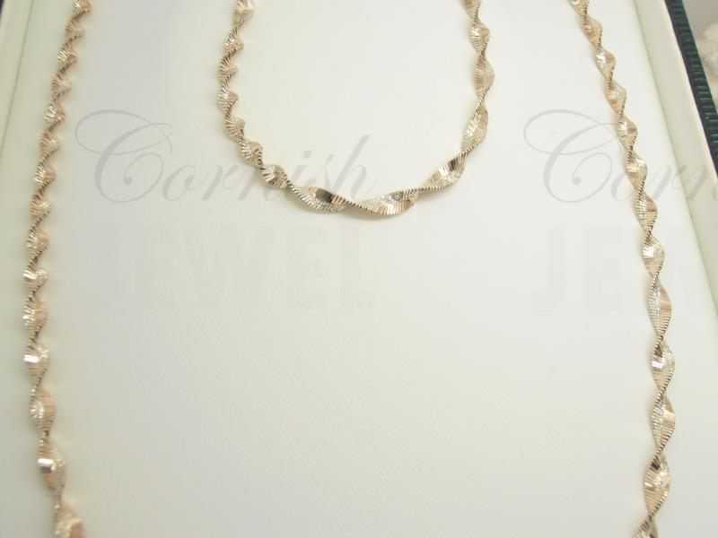 Silver & Rose Gold Twist Necklace Bracelet Set