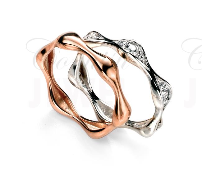 Silver And Rose Gold Wedding Rings With Cz