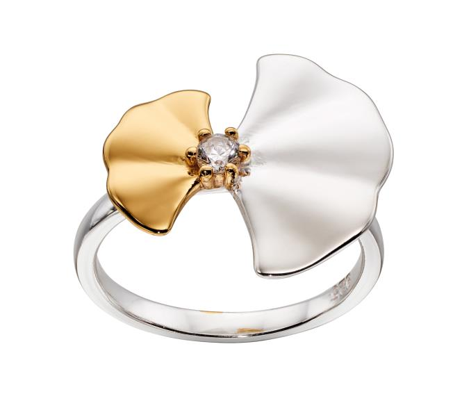 Silver & Yellow Gold Plated Ginkgo Leaf Ring