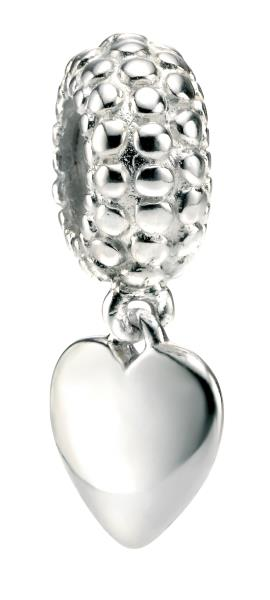 Silver Ball Pattern Bead With Drop Heart Tag Charm