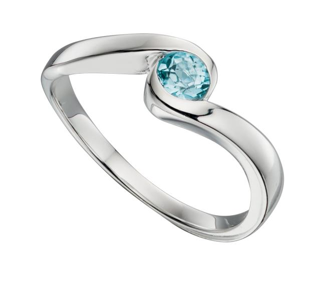 Blue Topaz Swirl Centre Ring