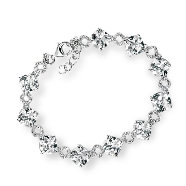 Clear CZ Cushion Cut & Pave Bracelet