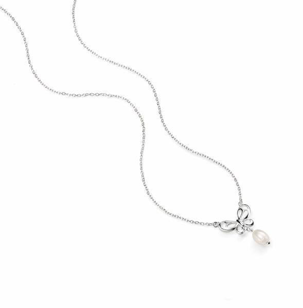 Butterfly Necklace With Pearl Drop