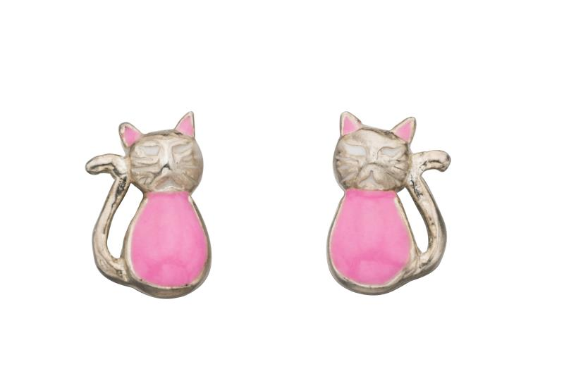 Silver Cat Stud Earrings Childrens