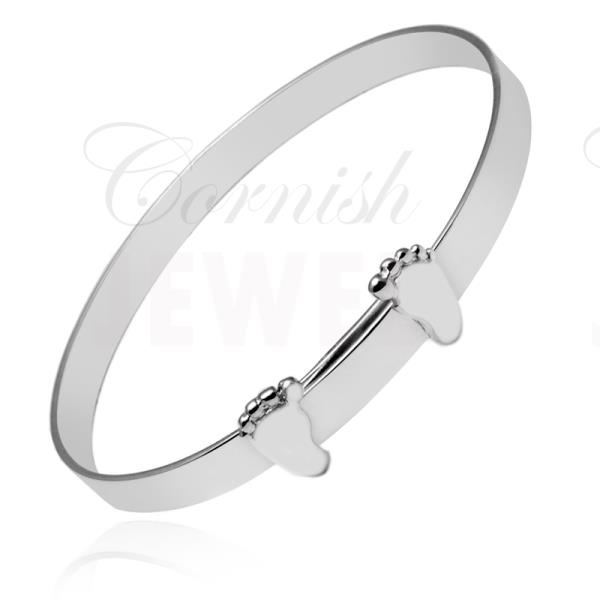 "Silver Christening Bracelet ""Baby Feet"" Baby Bangle"