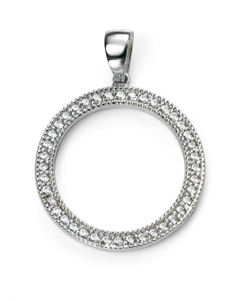 Rhodium Plated Clear CZ Open Circle Pendant