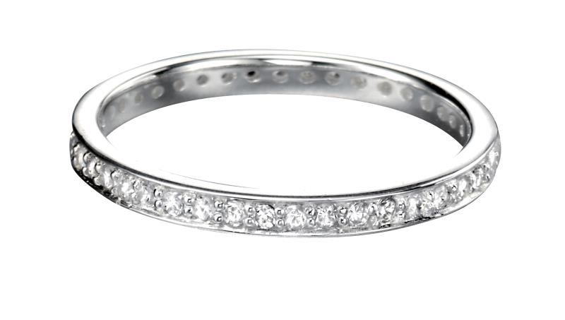 Clear CZ Pave 2.3Mm Round Ring
