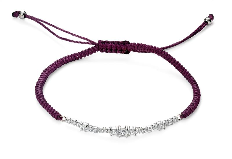 Clear CZ Purple Cord Bracelet