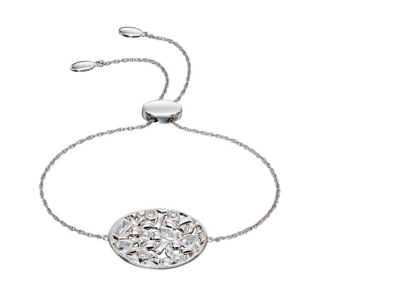 Silver Contrast Shape Oval Toggle Bracelet