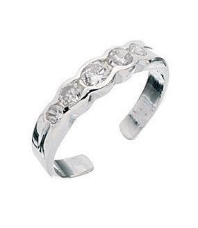 Clear Crystal 5 Setting Toe Ring