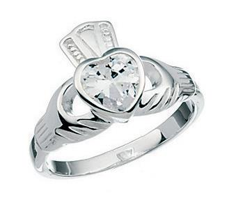 Irish Claddagh Wedding Rings 50 New Silver Cubic Zirconia Claddagh