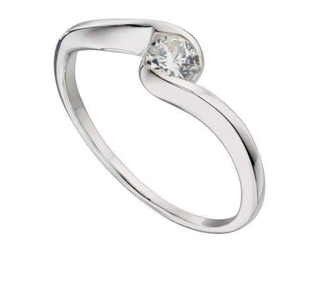 Clear CZ Swirl Centre Ring