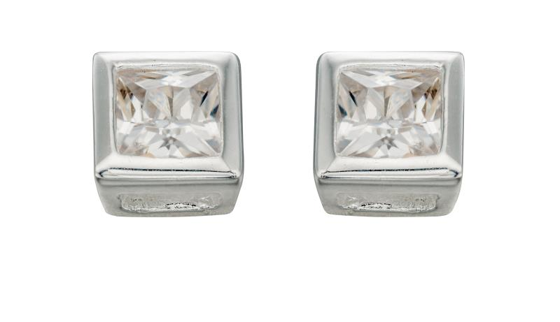 Clear CZ 4.5Mm Square Stud Earrings