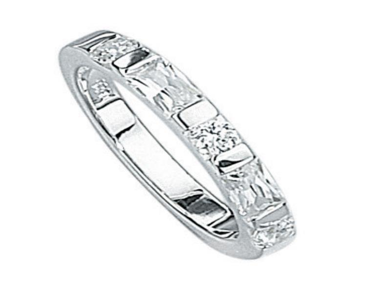 Sterling Silver Cubic Zirconia Wedding Rings Sets 71 Good Silver Cz Baguette Round