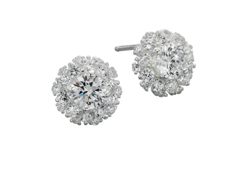 CZ Cluster Stud Earrings