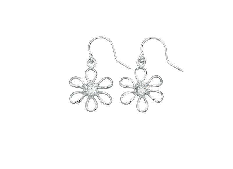 Clear CZ Flower Earrings