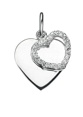 Clear CZ Double Heart Pendant