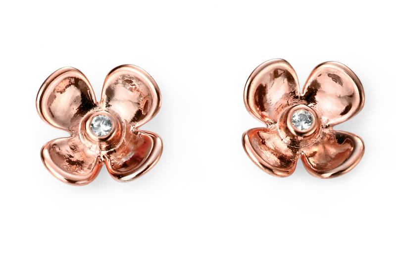 CZ Flower Studs In Rose Gold
