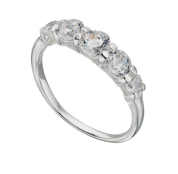 Silver Cz Graduated Ring