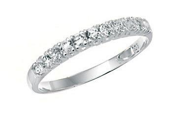 Silver Cz Half Eternity Womens Ring