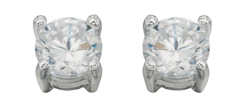 Silver Cz Med Round Stud Earrings