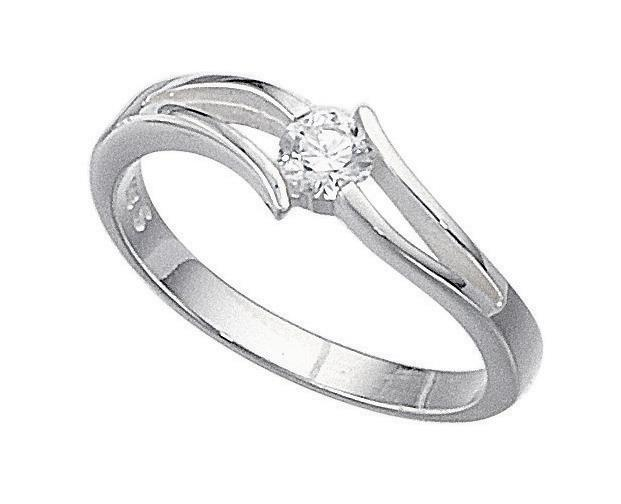 Silver Cz Open Setting Ring