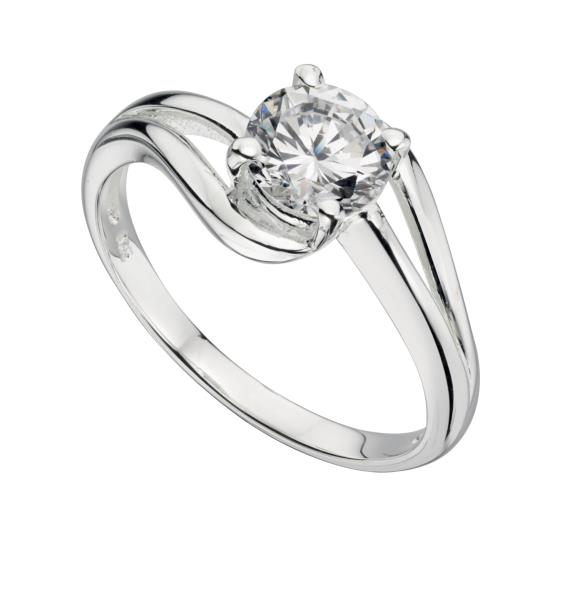 Cz Ring With Open Wave Setting