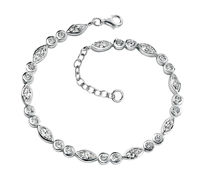 Clear CZ Round & Marquise Bracelet