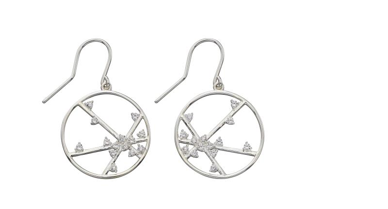 Silver CZ Spider Web Design Earrings