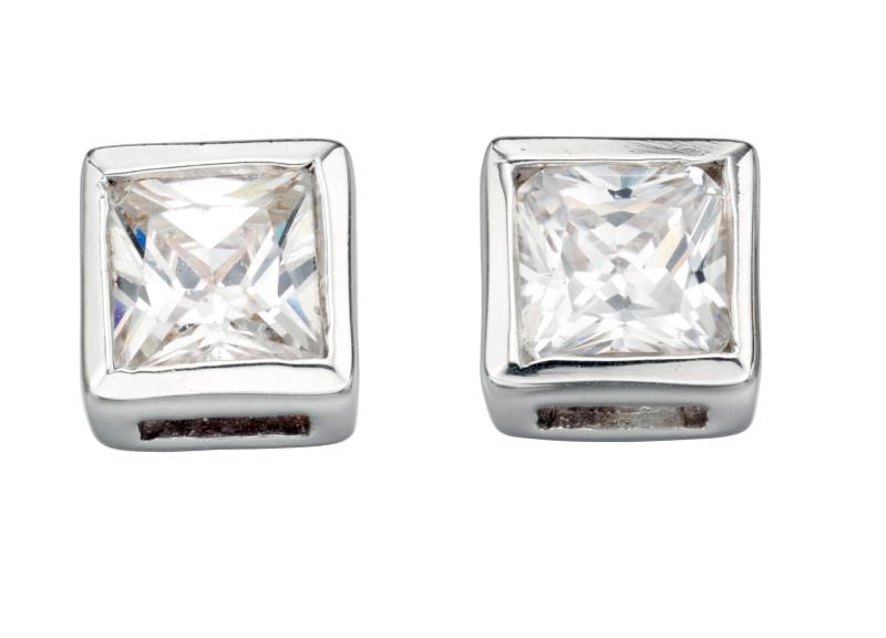 Clear CZ Square Stud Earrings