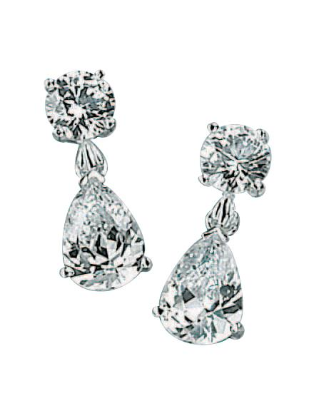Clear CZ Teardrop/Round Drop Earrings