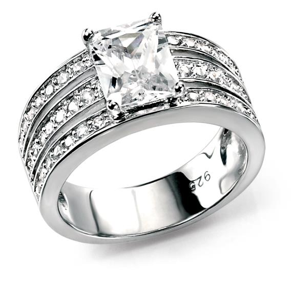 Clear CZ Triple Band Ring