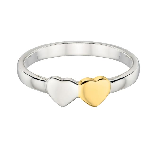 Double Heart Ring With Gold Plate