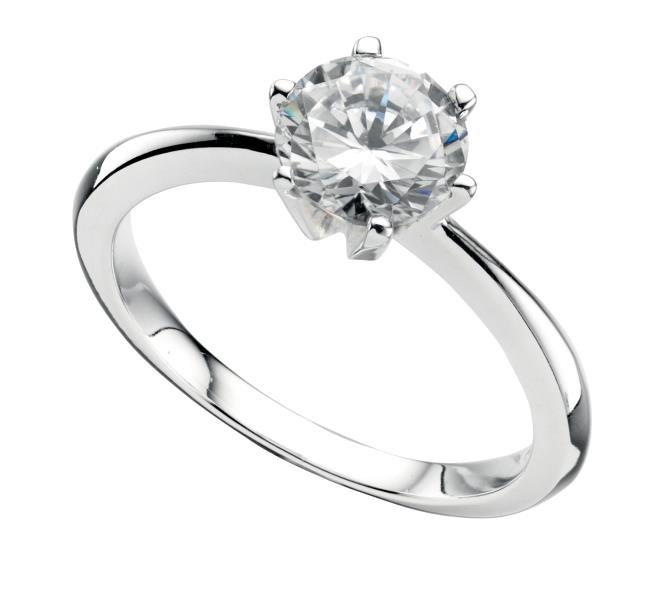 Silver Faux Diamond Solitaire Ring