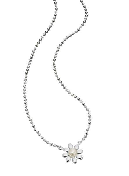 Silver Fresh Water Pearl Daisy Necklace