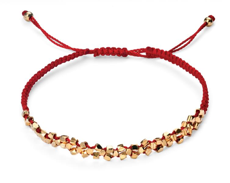 Gold Plated Red Cord Bracelet