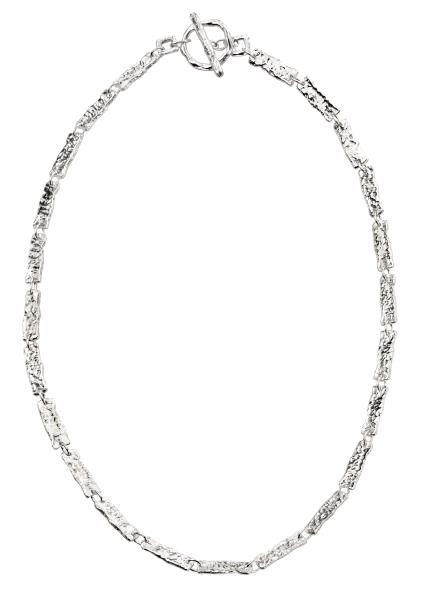 Hammered Rectangle Link T-Bar Necklet