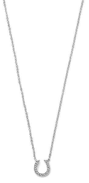 Silver Horse Shoe Clear Pave CZ Necklace